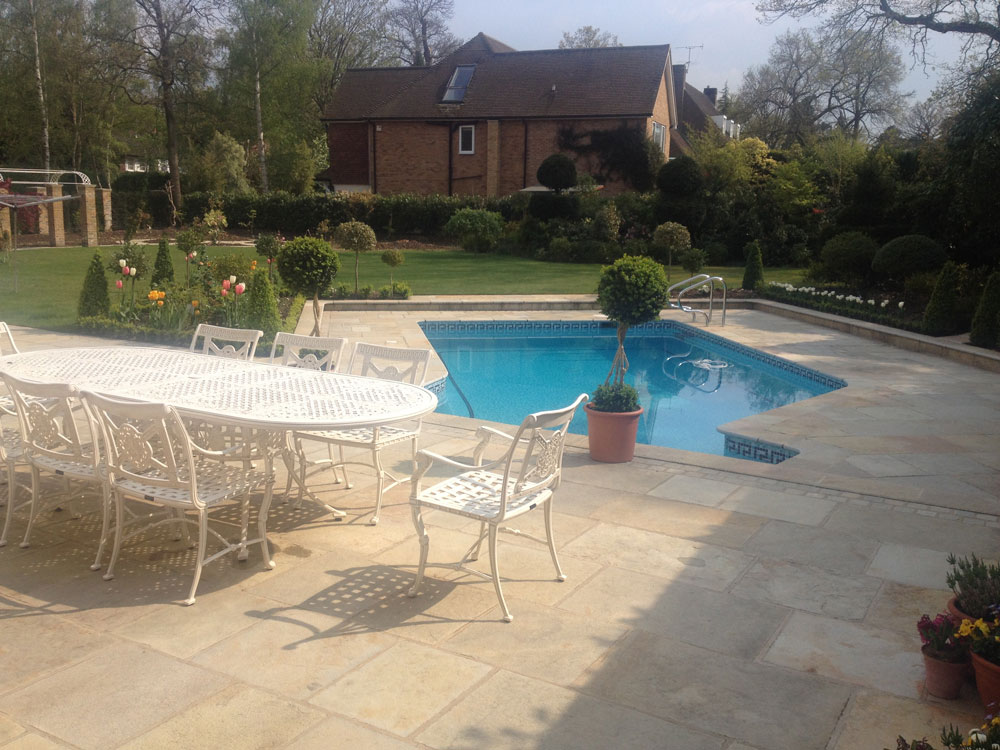 Swimming pool terrace in Surrey