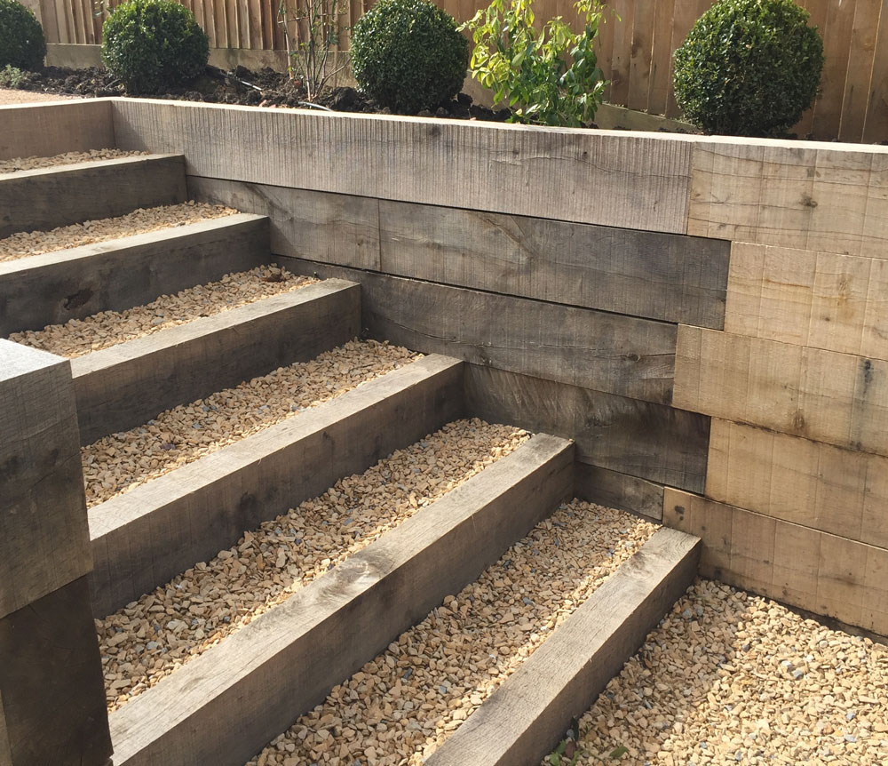 Sawn oak steps