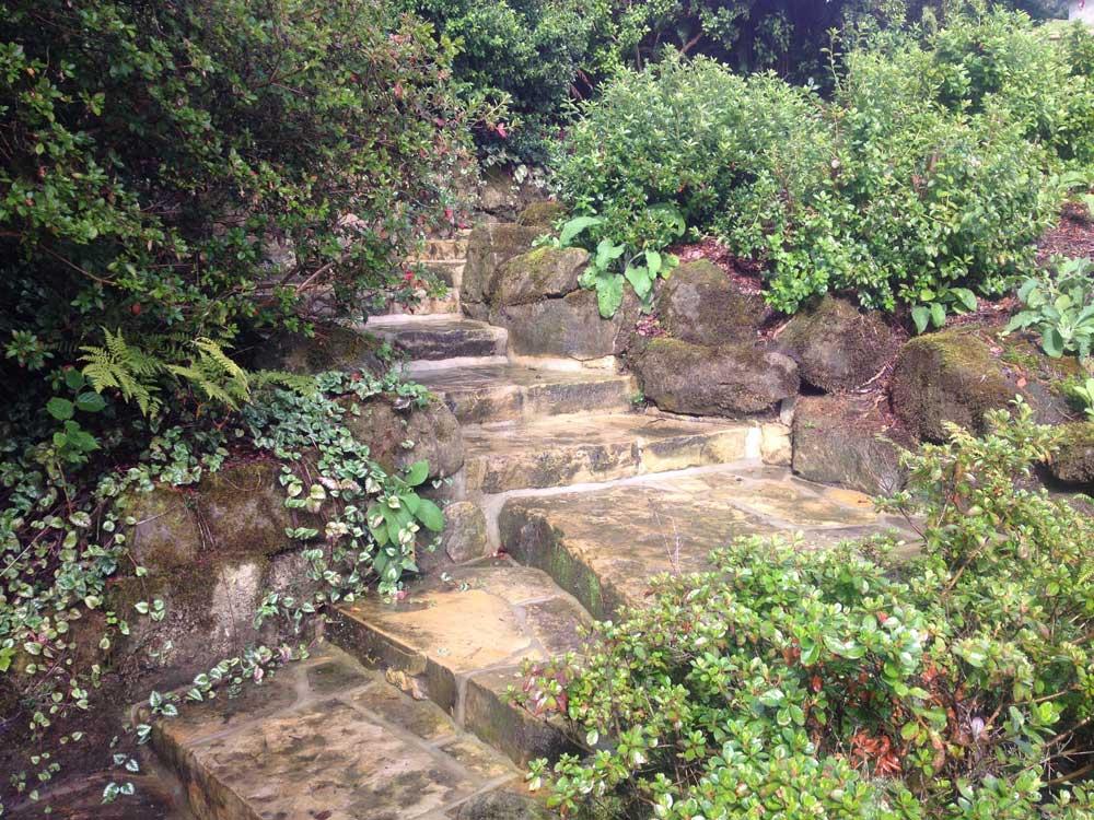 Reclaimed sandstone steps