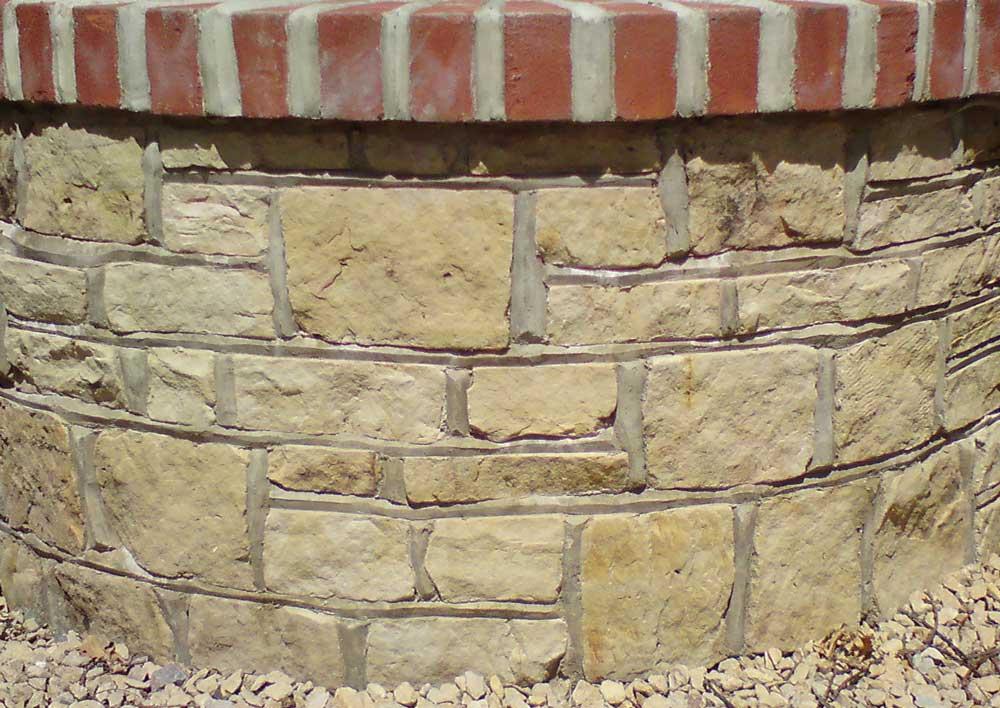 Stone and brick well surround